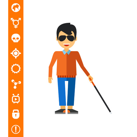 infirmity: Blind man holding cane. Disability, disease, help. Blindness concept. Can be used for topics like disability, charity, medicine.