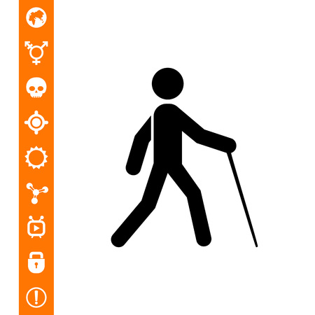 Blind person with cane. Safe, invalid, care. Disabled concept. Can be used for topics like medicine, health, marketing. Illustration
