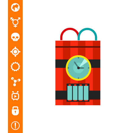 fire wire: Bomb with timer icon. Multicolored vector illustration of ticking bomb with red and blue wire