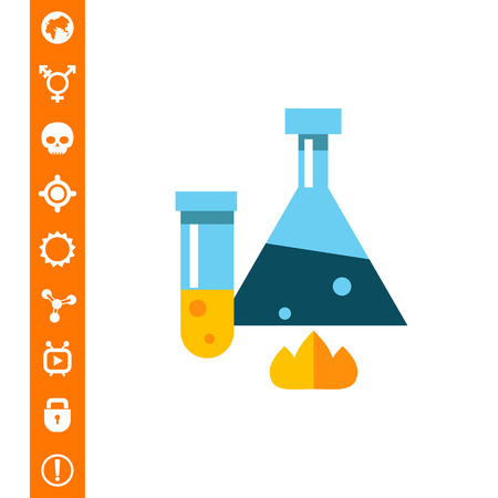 Chemical flask and test tube vector illustration.