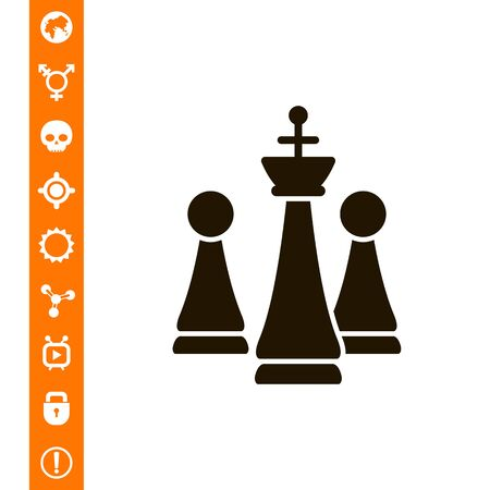 tactics: Icon of chess king and pawns vector illustration.