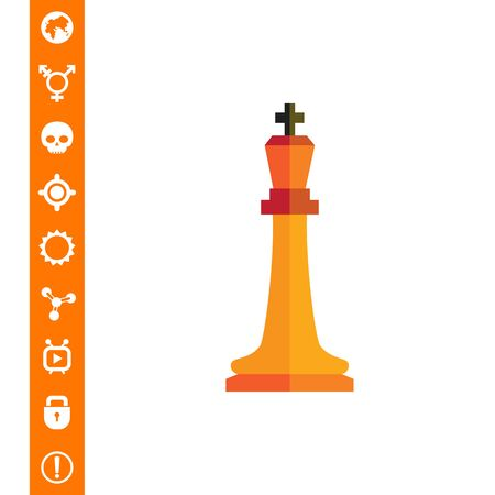 tactics: Multicolored vector icon of orange chess king on white background.