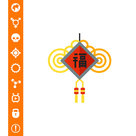 chinese knot: Chinese Amulet Icon vector illustration.