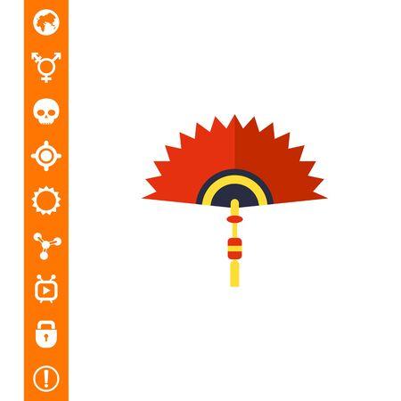 talisman: Ilustración de vector de icono de ventilador plegable chino. Vectores