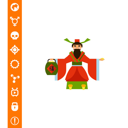 Chinese God of Wealth Icon vector illustration.
