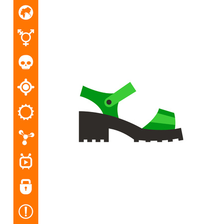 Chunky sandal. Woman, stylish, platform. Summer footwear concept. Can be used for topics like footwear, marketing, fashion.