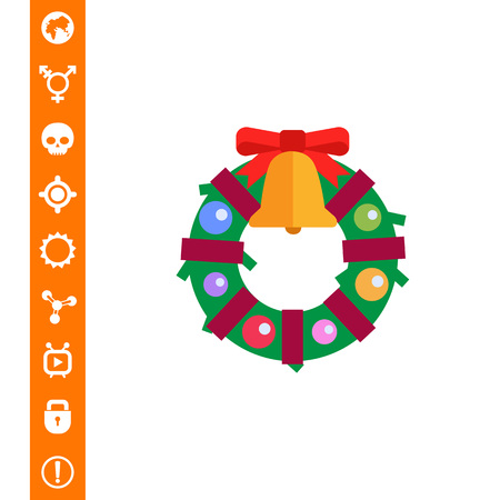 Vector icon of Christmas wreath decorated with bell