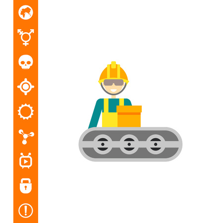 Multicolored vector icon of operator wearing helmet and standing at conveyor belt Иллюстрация