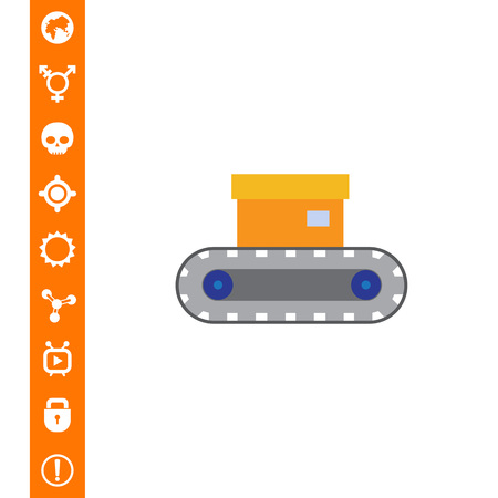 Vector icon of conveyor belt with box on it Illustration
