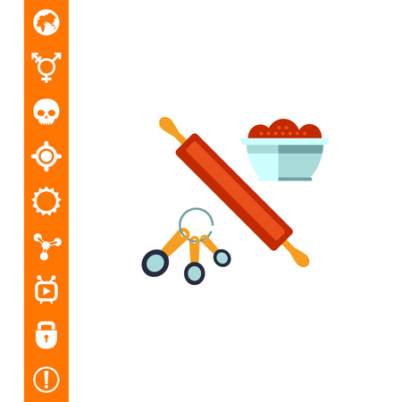 Multicolored vector icon of kitchen cooking set with rolling pin, spoon set and bowl Illustration