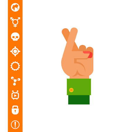 Crossed Fingers as Good Luck Concept Icon