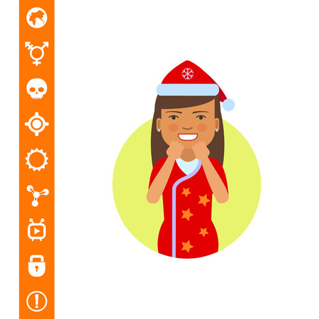 Excited woman in Santa costume vector illustration. Illustration