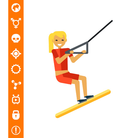 water skiing: Female Water Skier Icon vector illustration.