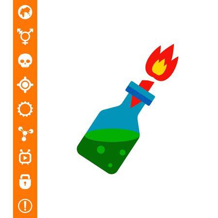 Fire Cocktail with Burning Wick Icon on white background, vector illustration. Illustration