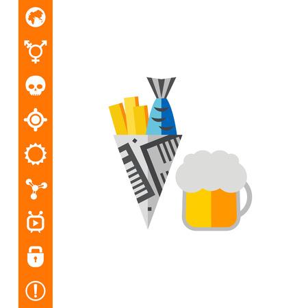 Fish and Chips-pictogram op witte achtergrond, vectorillustratie. Stock Illustratie