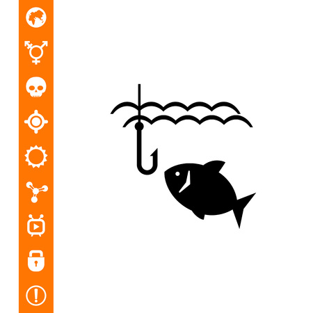 Fish and fish hook on white background, vector illustration.