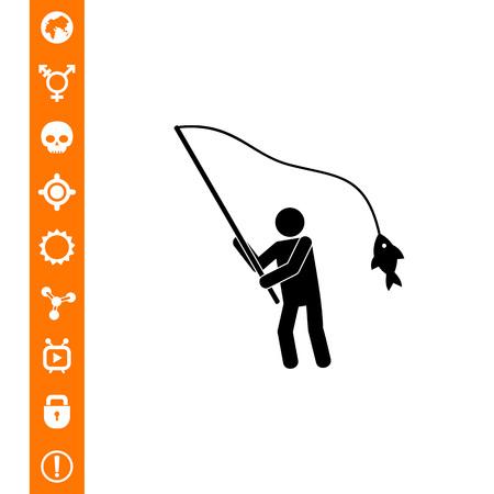 Fisherman with Fish on Rod Icon on white background, vector illustration. Illustration