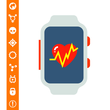 heart monitor: Fitness Tracker Icon on white background, vector illustration.
