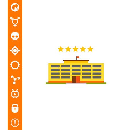 Five-star hotel building on white background, vector illustration. Illustration