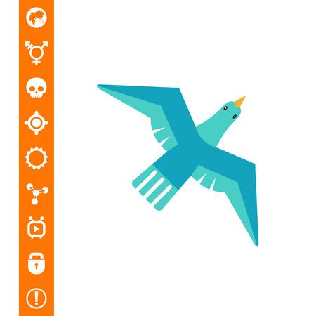 Icon of flying blue bird Vector illustration.