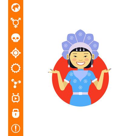 Asian woman in fancy dress