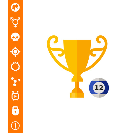 Billiard Ball and Cup Icon Illustration