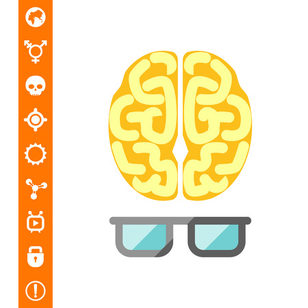 Brain with glasses Illustration