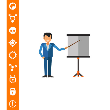 Businessman showing at board
