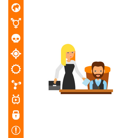 Director with Assistant Icon Illustration