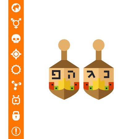 hebrew letters: Dreidel flat icon