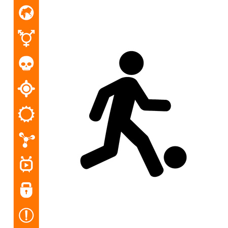 Man kicking ball. Game, team, fun. Football concept. Can be used for topics like sport, entertainment, football.