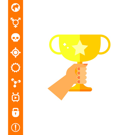 Human hand holding golden winner cup. Success, victory, prize. Winner concept. Can be used for topics like sport, health, sports competitions. Illustration