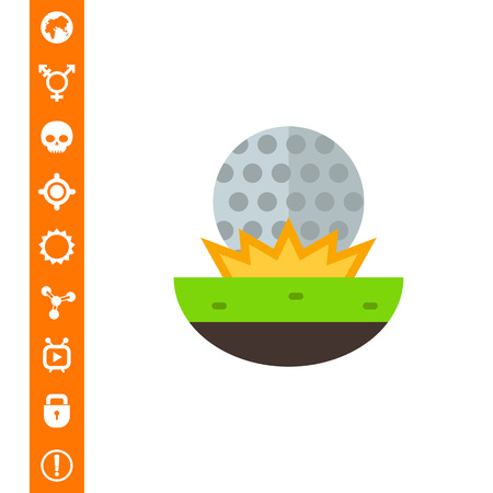 Golf ball fallen on grass. Approach, stroke, competition. Golf concept. Can be used for topics like golf, sport, games. Illustration