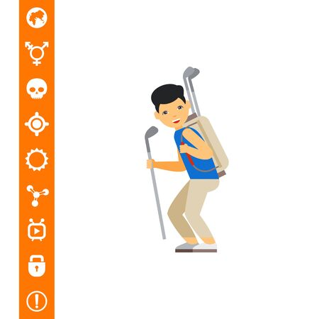Golf caddy carrying clubs. Equipment, leisure, help. Golf concept. Can be used for topics like golf, sport, games.
