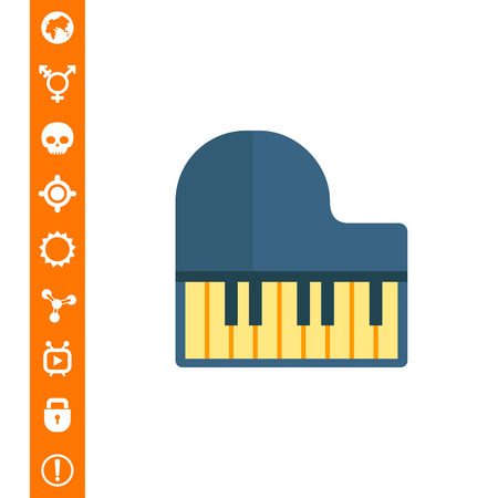 Grand piano icon on white background, vector illustration.