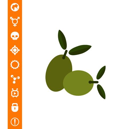 Vector icon of two green olives on stem with leaves Çizim