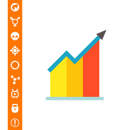 Vector icon of growing bar chart with arrow