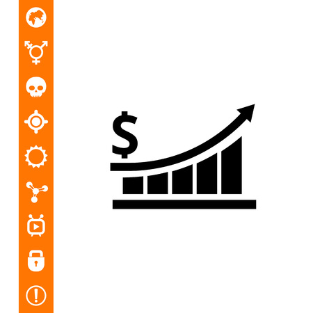 Vector icon of growing bar chart with arrow and dollar sign