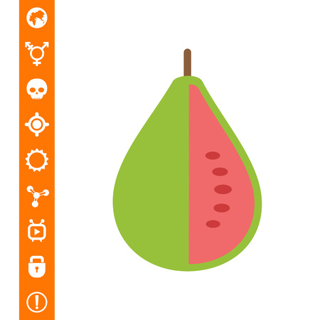 A Vector icon of green cut guava fruit.