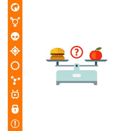 Hamburger en appel op schalen kopjes op een witte achtergrond.