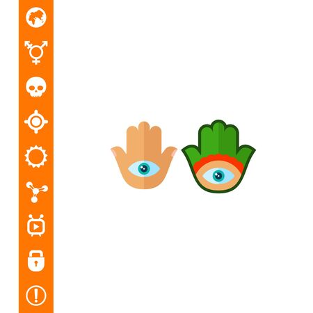 superstitious: Multicolored vector icon of Hamsa amulets with all-seeing eyes