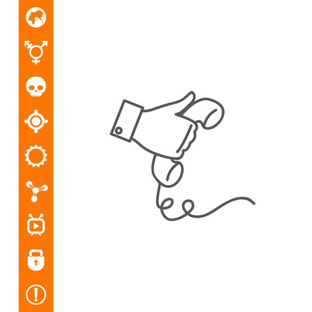 Hand holding telephone receiver Illustration