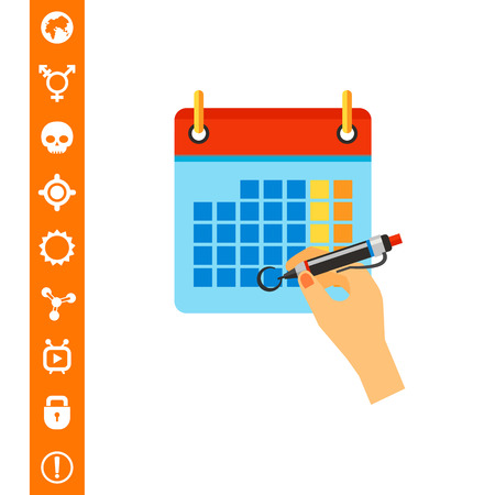Hand Marking Date on Calendar Icon on white background, Vector illustration.