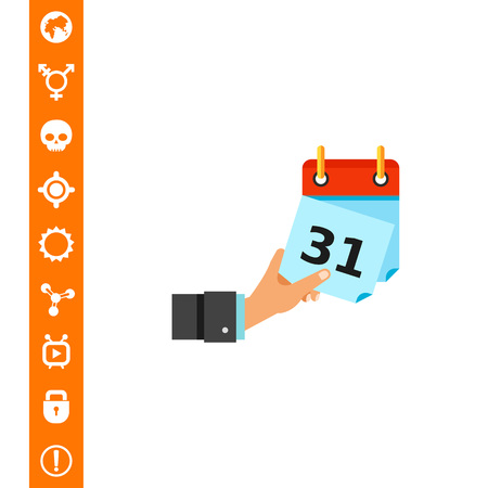 Hand Tearing off Calendar Sheet Icon on white background, Vector illustration.