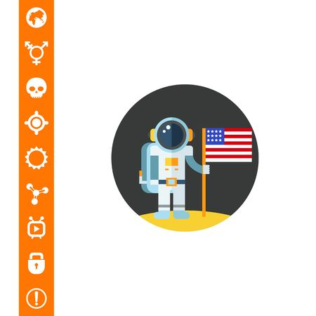 Man on moon holding USA flag, which can be used for concept like astronomy, technology, science.