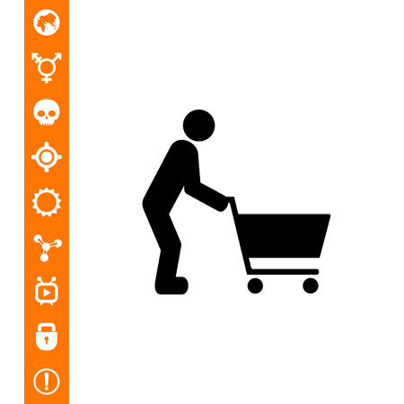 Man pushing shopping cart. Food, purchase, fun. Shopping concept. Can be used for topics like shopping, foodstuff, marketing. Illustration