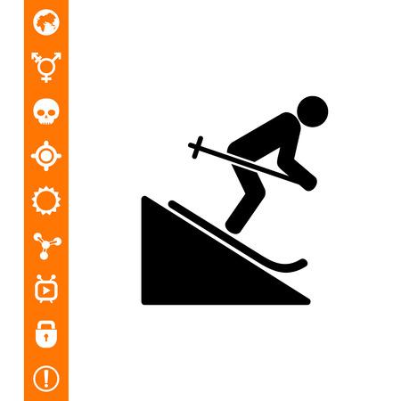 Man Skiing Downhill Icon vector illustration.
