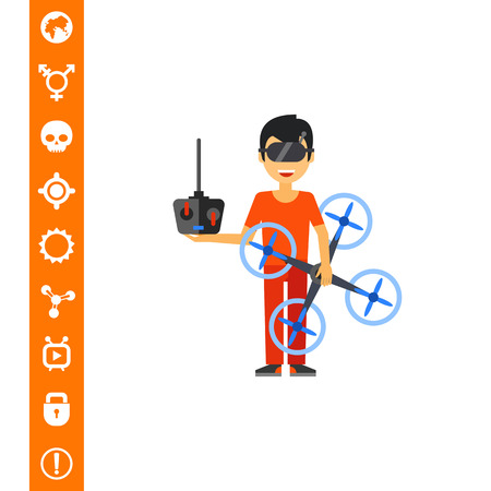 Man in special glasses holding drone and remote control. Operator, innovation, device. Drone concept. Can be used for topics like technology, aircraft, electronics, espionage.