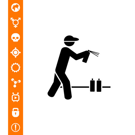 Man holding graffiti spray can and spraying. Painter, city, wall. Graffiti concept. Can be used for topics like vandalism, street art, culture. Illustration
