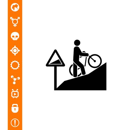 Man walking uphill and pushing bicycle. Tired, difficult, steep. Uphill concept. Can be used for topics like sport, lifestyle, bicycling. 向量圖像